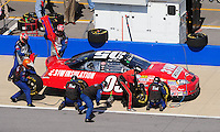Apr 25, 2009; Talladega, AL, USA; NASCAR Nationwide Series driver Jeff Green pits during the Aarons 312 at the Talladega Superspeedway. Mandatory Credit: Mark J. Rebilas-