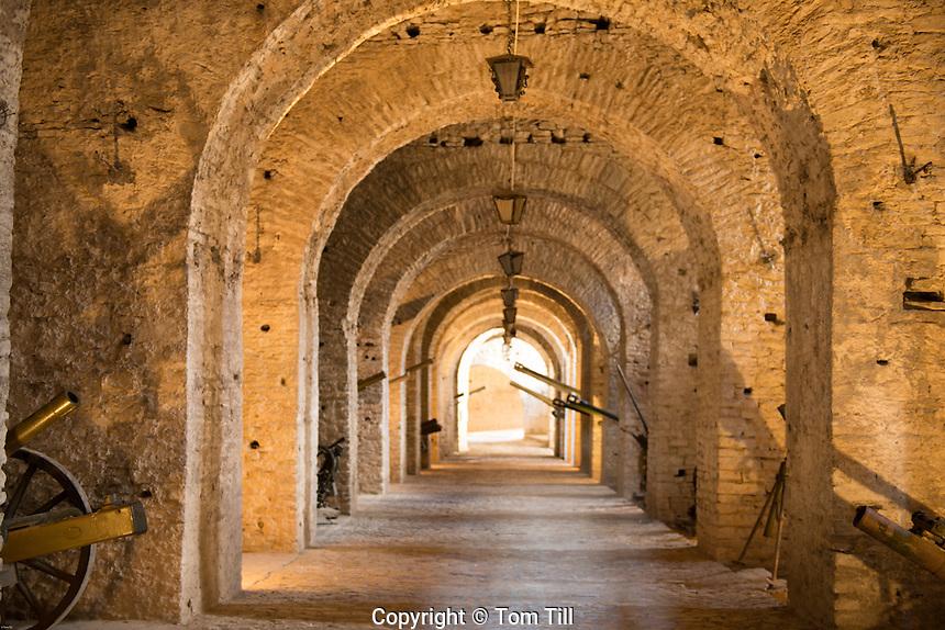 Interiors of Gjirokastra Castle, Albania Finest example of Ottoman-style city in Albania