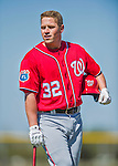 25 February 2016: Washington Nationals first baseman Tyler Moore awaits his turn in the batting cage during the first full squad Spring Training workout at Space Coast Stadium in Viera, Florida. Mandatory Credit: Ed Wolfstein Photo *** RAW (NEF) Image File Available ***