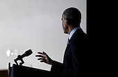 United States President Barack Obama makes remarks about his plan to improve confidence in technology by tackling identity theft and improving consumers and students privacy at the Federal Trade Commission offices, in Washington, DC on January 12, 2015.<br /> Credit: Aude Guerrucci / Pool via CNP
