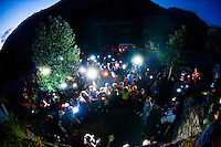 "About 200 miners wifes started a night march towards a closed mine in Cinera,Leon, to protest against the government cuts. Esther Rodriguez, a miner's wife said: ""What future can we have? But the worst thing is that nobody in Spain supporting us, only miners from other countries like Poland and the UK.""<br /> <br /> A miner who wished to stay anonymous said: ''There is a lot of tension, and the tension is reaching the point where riot police are entering villages full of women and children, and they don't care. In the same way that they don't care, we won't care either. It's really sad because it is reaching the point that one day something bad will happen."""