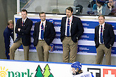 Jari Jalasvaara (Finland - Manager), Marko Kivimäki (Finland - Doctor), Petri Tuononen (Finland - Goalie Coach), Arto Sihvonen (Finland - Team Leader), Petri Pulkkinen (Finland - Coach) - Russia defeated Finland 4-0 at the Urban Plains Center in Fargo, North Dakota, on Friday, April 17, 2009, in their semi-final match during the 2009 World Under 18 Championship.