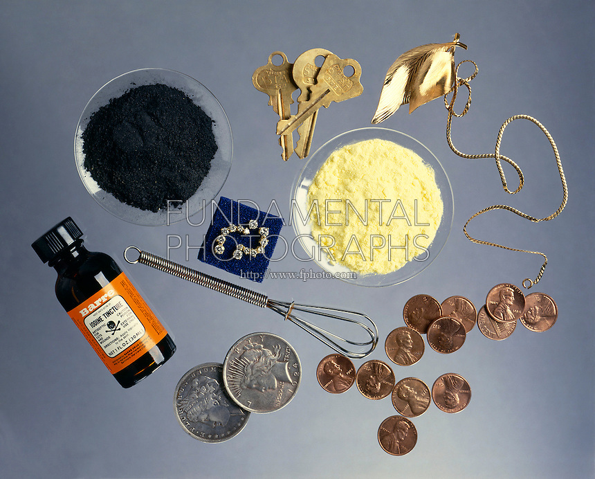 METALLIC and NONMETALLIC Household items (from left to right): graphite, brass keys, gold necklace, iodine, steel whisk, diamonds, sulfur, silver dollars, copper pennies.