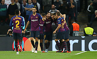 Barcelona's Ivan Rakitic is congratulated after scoring his side's first goal<br /> <br /> Photographer Rob Newell/CameraSport<br /> <br /> UEFA Champions League Group B - Tottenham Hotspur v Barcelona - Wednesday 3rd October 2018 - Wembley Stadium - London<br />  <br /> World Copyright © 2018 CameraSport. All rights reserved. 43 Linden Ave. Countesthorpe. Leicester. England. LE8 5PG - Tel: +44 (0) 116 277 4147 - admin@camerasport.com - www.camerasport.com