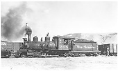 Fireman's-side view of D&amp;RGW #268 switching on the Crested Butte Branch trackage in Gunnison.<br /> D&amp;RGW  Gunnison, CO