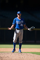Kansas City Royals relief pitcher Walker Sheller (28) questions a called balk during an Instructional League game against the Arizona Diamondbacks at Chase Field on October 14, 2017 in Scottsdale, Arizona. (Zachary Lucy/Four Seam Images)
