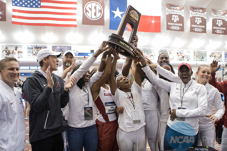 COLLEGE STATION, TX - MARCH 11: Alabama women's track and field team celebrate their third place trophy during the Division I Men's and Women's Indoor Track & Field Championship held at the Gilliam Indoor Track Stadium on the Texas A&M University campus on March 11, 2017 in College Station, Texas. (Photo by Michael Starghill/NCAA Photos/NCAA Photos via Getty Images)