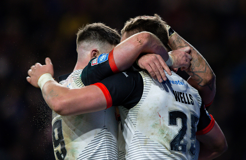 Toronto Wolfpack's Jack Wells celebrates scoring his side's second try with teammates<br /> <br /> Photographer Alex Dodd/CameraSport<br /> <br /> Betfred Super League Round 6 - Leeds Rhinos v Toronto Wolfpack - Thursday 5th March 2020 - Headingley - Leeds<br /> <br /> World Copyright © 2020 CameraSport. All rights reserved. 43 Linden Ave. Countesthorpe. Leicester. England. LE8 5PG - Tel: +44 (0) 116 277 4147 - admin@camerasport.com - www.camerasport.com