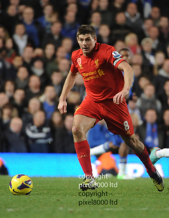 Steven Gerrard of Liverpool in action during the Barclays Premier League match between Chelsea and Liverpool at Stanford Bridge on Sunday November 11, 2012 in London, England Picture Zed Jameson/pixel 8000 ltd.