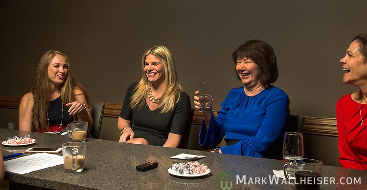 From left, lobbyist Monica Rodriguez, Andrea Reilly, Keyna Cory and Jan Gorrie participate during a Florida Women Lobbyist round table at the Blue Halo Restaurant in Tallahassee, Florida.