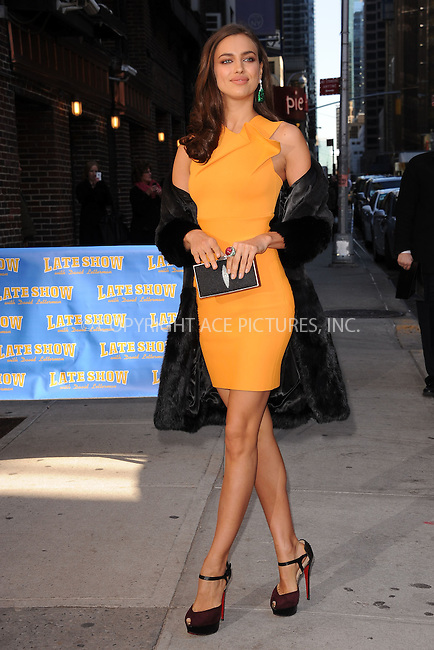 WWW.ACEPIXS.COM . . . . . February 13, 2012...New York City...Irina Shayk tapes an appearance on  the Late Show with David Letterman on February 13, 2012 in New York City....Please byline: KRISTIN CALLAHAN - ACEPIXS.COM.. . . . . . ..Ace Pictures, Inc: ..tel: (212) 243 8787 or (646) 769 0430..e-mail: info@acepixs.com..web: http://www.acepixs.com .