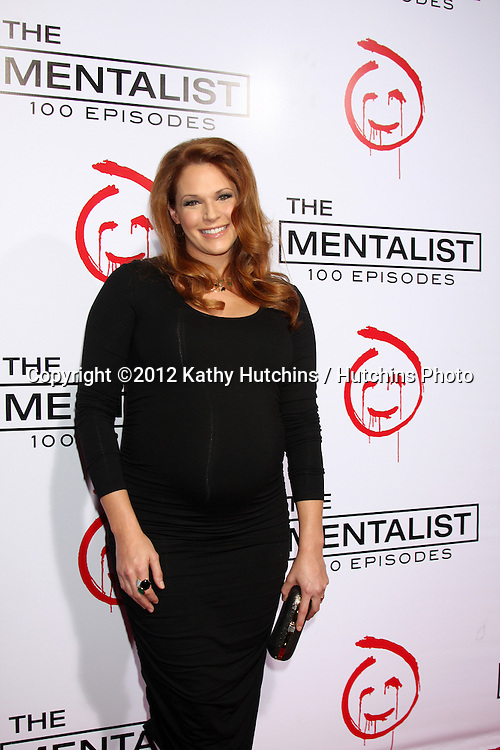 """LOS ANGELES - OCT 11:  Amanda Righetti arrives at """"The Mentalist"""" 100th Episode Party at The Edison on October 11, 2012 in Los Angeles, CA"""