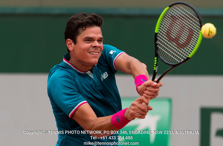 MILOS RAONIC (CAN)<br /> <br /> TENNIS - FRENCH OPEN - ROLAND GARROS - ATP - WTA - ITF - GRAND SLAM - CHAMPIONSHIPS - PARIS - FRANCE - 2017  <br /> <br /> <br /> <br /> &copy; TENNIS PHOTO NETWORK