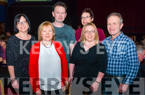front Mag Cremin and Carmel Kennedy, back l-r Eileen Herlihy, Sean O'Donoghue, Ann O'Donoghue and Tim Herlihy all from Rathmore pictured at Rathmore Strictly Come Dance in the INEC, Killarney last Thursday night.