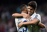 Marco Asensio Willemsen of Real Madrid celebrates with teammate Danielo Luiz Da Silva during the 2016-17 UEFA Champions League match between Real Madrid and Legia Warszawa at the Santiago Bernabeu Stadium on 18 October 2016 in Madrid, Spain. Photo by Diego Gonzalez Souto / Power Sport Images