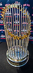 29 June 2014:  Modern era Boston Red Sox World Series Trophies are on display prior to a game between the Vermont Lake Monsters and the Lowell Spinners at Centennial Field in Burlington, Vermont. The Lake Monsters fell to the Spinners 7-5 in NY Penn League action. Mandatory Credit: Ed Wolfstein Photo *** RAW Image File Available ****