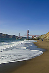 San Francisco: Baker Beach with Golden Gate Bridge in background.  Photo # 2-casanf83752.  Photo copyright Lee Foster.