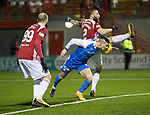 Hamilton Accies v St Johnstone&hellip;09.12.17&hellip;  New Douglas Park&hellip;  SPFL<br />Michael O&rsquo;Halloran is denied a late chance to make it 2-0 by Ioannis Skondras<br />Picture by Graeme Hart. <br />Copyright Perthshire Picture Agency<br />Tel: 01738 623350  Mobile: 07990 594431