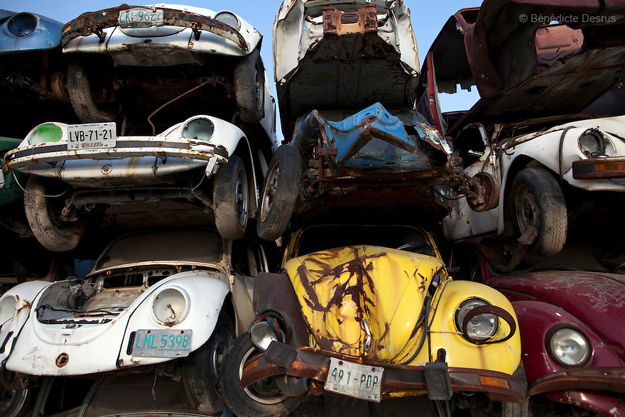 "May 23, 2011 - Mexico - Old Volkswagen car ""VW beetle"" seized by the government in a junkyard outside of Mexico City. The VW Beetle was the longest-running and most-manufactured automobile of a single design platform anywhere in the world. Mexican production began in 1955 . VW announced the end of production in June 2003, citing decreasing demand, and the final original Type 1 VW Beetle rolled off the production line at Puebla, Mexico, on 30 July 2003. Photo credit: Benedicte Desrus"