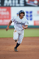 Gustavo Campero (24) of the Pulaski Yankees hustles towards third base against the Burlington Royals at Calfee Park on September 1, 2019 in Pulaski, Virginia. The Royals defeated the Yankees 5-4 in 17 innings. (Brian Westerholt/Four Seam Images)