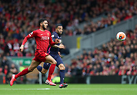 7th March 2020; Anfield, Liverpool, Merseyside, England; English Premier League Football, Liverpool versus AFC Bournemouth; Joe Gomez of Liverpool and Callum Wilson of Bournemouth race after the ball