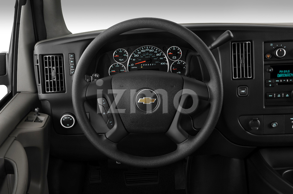 Steering wheel view of a 2008 chevrolet express 3500 passenger van