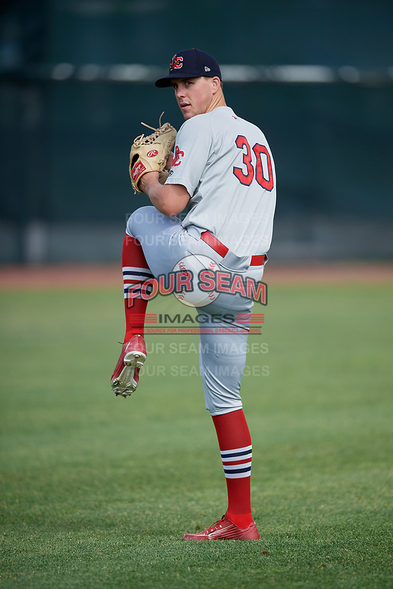 Johnson City Cardinals pitcher Jacob Sylvester (30) warms up before the first game of a doubleheader against the Princeton Rays on August 17, 2018 at Hunnicutt Field in Princeton, Virginia.  Johnson City defeated Princeton 6-4.  (Mike Janes/Four Seam Images)