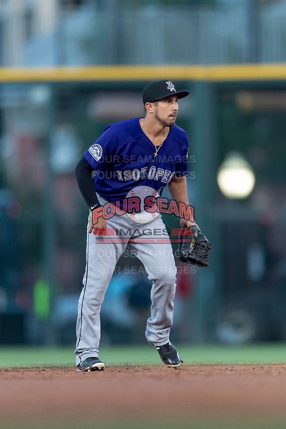 Albuquerque Isotopes shortstop Elliot Soto (3) during a Pacific Coast League game against the El Paso Chihuahuas at Southwest University Park on May 10, 2019 in El Paso, Texas. Albuquerque defeated El Paso 2-1. (Zachary Lucy/Four Seam Images)