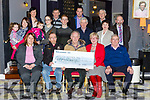 John O'Shea presents the proceeds of the Old Kenmare walk to Pat O'Neill for South Kerry MS in the Gleneagle Hotel on Sunday front row l-r: Jadwiga Surmiall Gleneagle Hotel, John O'Shea, Pat O'Neill, Mary O'Conor, Jimmy O'Cllaghan O'Callaghan coaches. Back row: Annie Mai and Tara O'Donoghue, Ciara O'Leary, Marie O'Donoghue, Sean o'Shea, Michael Horan, Eileen Doody, Liam O'Brien Back row: Anne Marie O'Leary, Mike Gorman, John O'Sullivan and Tom McCarthy