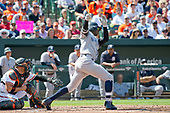 New York Yankees shortstop Didi Gregorius (18) bats in the second inning against the Baltimore Orioles at Oriole Park at Camden Yards in Baltimore, MD on Monday, September 4, 2017.<br /> Credit: Ron Sachs / CNP<br /> (RESTRICTION: NO New York or New Jersey Newspapers or newspapers within a 75 mile radius of New York City)