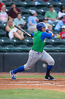 Joshua Banuelos (4) of the Lexington Legends follows through on his swing against the Hickory Crawdads at L.P. Frans Stadium on April 29, 2016 in Hickory, North Carolina.  The Crawdads defeated the Legends 6-2.  (Brian Westerholt/Four Seam Images)