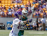 Alex Burgmaster (#24) passes the ball as UAlbany Lacrosse defeats Vermont 14-4  in the American East Conference Championship game at Casey Stadium, May 5.
