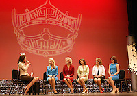 12 July, 2008:    2007 Miss Washington winner Elyse Umemoto read off questions to the final five contestants (left) Miss Yakima County Marcie Anglen, (left center) Miss Tri-Cities Kristen Cox, (center) Miss Tahoma Janet Harding, (left center) Miss Pierce County Elizabeth Lamb-Ferro, (right center)  and (right) Miss Auburn Cara Rudd at the 2008 Miss Washington pageant at the Pantages Theater in Tacoma , Washington.  Miss Tahoma Janet Harding won this years 2008 Washington pageant.