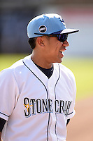Charlotte Stone Crabs second baseman Kean Wong (4) before a game against the Daytona Tortugas on April 14, 2015 at Charlotte Sports Park in Port Charlotte, Florida.  Charlotte defeated Daytona 2-0.  (Mike Janes/Four Seam Images)