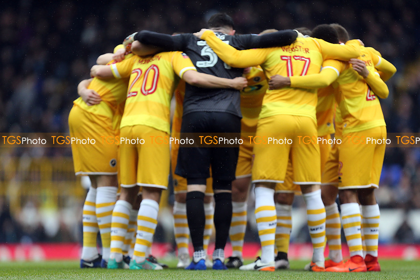 Millwall huddle before Tottenham Hotspur vs Millwall, Emirates FA Cup Football at White Hart Lane on 12th March 2017