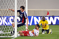 Justin Braun (17) of CD Chivas USA scores his third goal of the match. CD Chivas USA defeated the New York Red Bulls 3-2 during a Major League Soccer (MLS) match at Red Bull Arena in Harrison, NJ, on May 15, 2011.