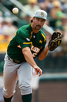Baylor Bears pitcher Kolt Browder #45 attempts a pickoff during the NCAA Regional baseball game against Oral Roberts University on June 3, 2012 at Baylor Ball Park in Waco, Texas. Baylor defeated Oral Roberts 5-2. (Andrew Woolley/Four Seam Images)