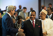 United States Secretary of State John Kerry greets Republic of the Congo President Denis Sassou-Nguesso at the Africa Leaders Summit at the State Department in Washington DC, August 6, 2014. Obama is promoting business relationships between the United States and African countries during the three-day U.S.-Africa Leaders Summit, where 49 heads of state are meeting in Washington. <br /> Credit: Molly Riley / Pool via CNP