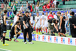 The Hague, Netherlands, June 08: After the field hockey group match (Men - Group B) between the Black Sticks of New Zealand and Germany on June 8, 2014 during the World Cup 2014 at Kyocera Stadium in The Hague, Netherlands.  Final score 3-5 (1-3) (Photo by Dirk Markgraf / www.265-images.com) *** Local caption *** Alex Shaw #19 of New Zealand, Simon Child #6 of New Zealand, Head coach Colin Batch of New Zealand, Blair Hilton #9 of New Zealand