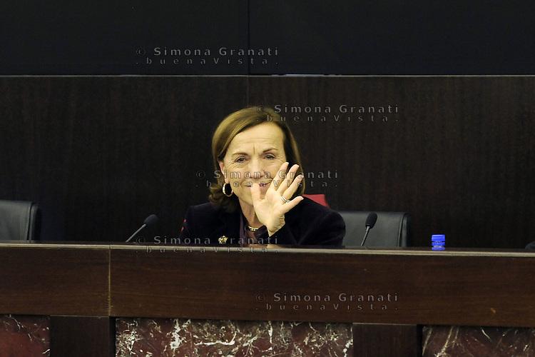 Roma, 4 Dicembre 2011.Il Governo Monti presenta alla stampa la manovra economica..La Ministro del Welfare Elsa Fornero si commuove e piange