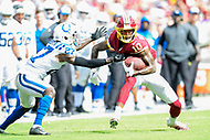 Landover, MD - September 16, 2018: Washington Redskins wide receiver Paul Richardson (10) breaks the tackle of Indianapolis Colts cornerback Nate Hairston (27) during game between the Indianapolis Colts and the Washington Redskins at FedEx Field in Landover, MD. The Colts defeated the Redskins 21-9.(Photo by Phillip Peters/Media Images International)