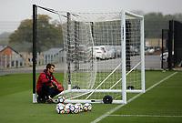 Lukasz Fabianski sits on the wheel of the nets during the Swansea City Training at The Fairwood Training Ground, Swansea, Wales, UK. Wednesday 27 September 2017