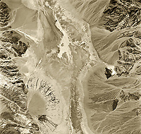 historical aerial photograph Furnance Creek, Death Valley National Park, Inyo County, California, 1952.  The Furnace Creek Airport (L09), which wasn't officially opened until 1953 is visible just west of highway 190 in the center of the aerial photograph.