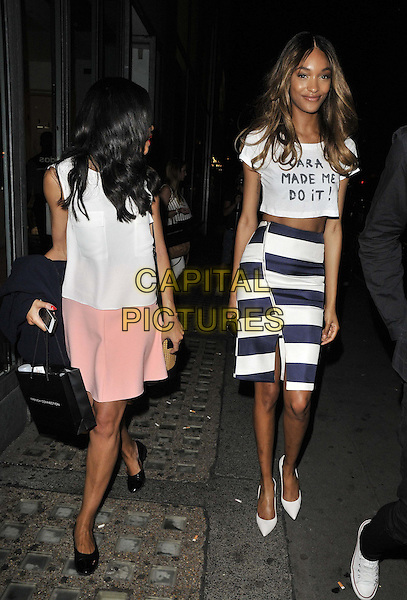 LONDON, ENGLAND - JULY 23: Sarah Jane Crawford &amp; Jourdan Dunn attend the French Connection a/w 2015 new campaign launch party, French Connection, Oxford St., on Wednesday July 23, 2014 in London, England, UK. <br /> CAP/CAN<br /> &copy;Can Nguyen/Capital Pictures