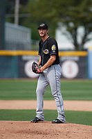Akron RubberDucks relief pitcher Dylan Baker (12) gets ready to deliver a warmup pitch during a game against the Erie SeaWolves on August 27, 2017 at UPMC Park in Erie, Pennsylvania.  Akron defeated Erie 6-4.  (Mike Janes/Four Seam Images)