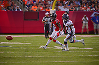 Ohio, Canton - August 1, 2019: Atlanta Falcons wide receiver Christian Blake #13 misses a reception during a pre-season game between the Atlanta Falcons and the Denver Broncos at the Tom Benson stadium in Canton, Ohio August 1, 2019. This game marks start of the 100th season of the NFL. (Photo by Don Baxter/Media Images International)