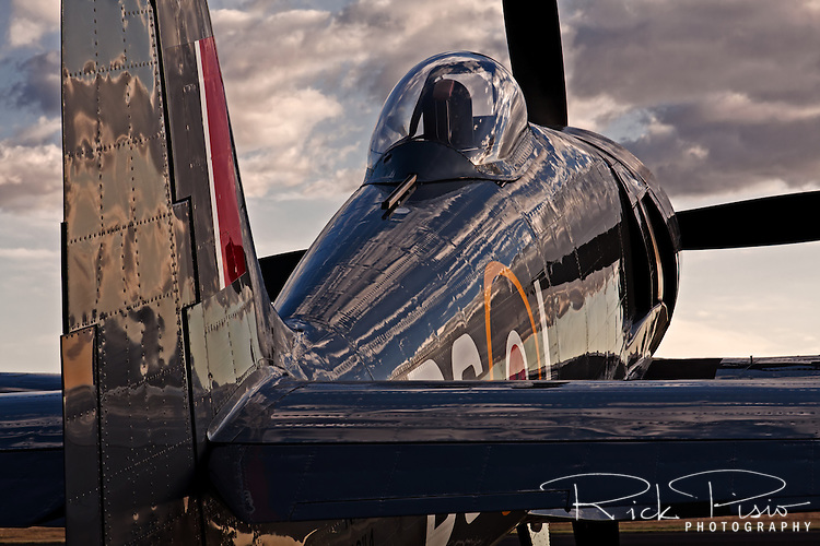 "The Hawker Sea Fury ""Argonaut"" reflects the late afternoon sky at the 2010 Madera Gathering of Warbirds. Argonaut is a regular participant at the annual Reno Air Races."