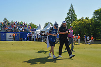 Shane Lowry (IRL) and Padraig Harrington (IRL) head down 1 during Round 4 of the Zurich Classic of New Orl, TPC Louisiana, Avondale, Louisiana, USA. 4/29/2018.<br /> Picture: Golffile | Ken Murray<br /> <br /> <br /> All photo usage must carry mandatory copyright credit (&copy; Golffile | Ken Murray)