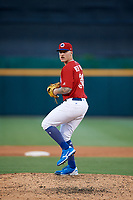 Buffalo Bisons starting pitcher Sean Reid-Foley (38) delivers a pitch during a game against the Syracuse Chiefs on July 6, 2018 at Coca-Cola Field in Buffalo, New York.  Buffalo defeated Syracuse 6-4.  (Mike Janes/Four Seam Images)