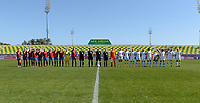 20190301 - LARNACA , CYPRUS : both team line ups pictured during a women's soccer game between Finland and Czech Republic , on Friday 1 March 2019 at the AEK Arena in Larnaca , Cyprus . This is the second game in group A for Both teams during the Cyprus Womens Cup 2019 , a prestigious women soccer tournament as a preparation on the Uefa Women's Euro 2021 qualification duels. PHOTO SPORTPIX.BE | DAVID CATRY